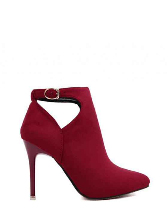 womens Hollow Out Flock Stiletto Heel Ankle Boots - RED 38