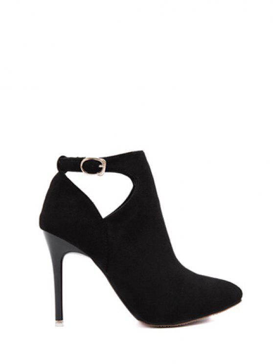 women's Hollow Out Flock Stiletto Heel Ankle Boots - BLACK 37