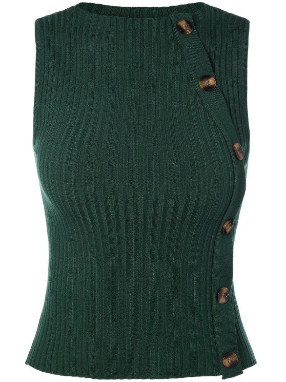 Botón con adorno del chaleco del suéter - Verde Única Talla