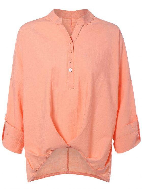lady High Low Chiffon Blouse - NUDE PINK XL