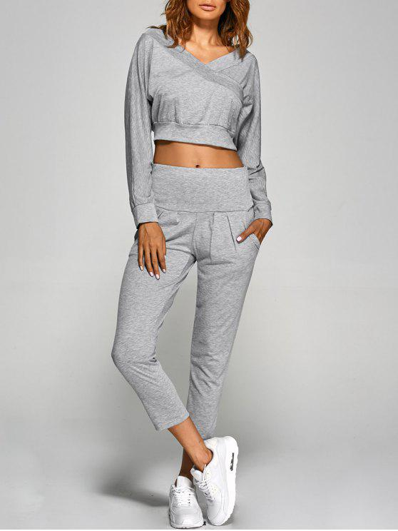 V Neck Retour Cutout Crop Top Pants - Gris XL