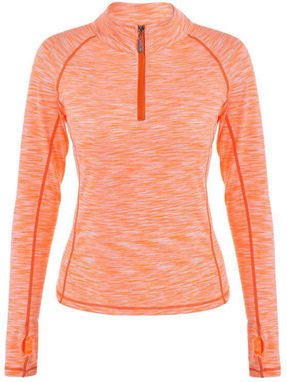 Chiné côtelé Zipper T-shirt - Orange Rose S
