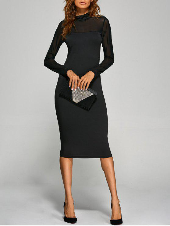 outfits Long Sleeve See-Through Midi Bodycon Dress - BLACK L