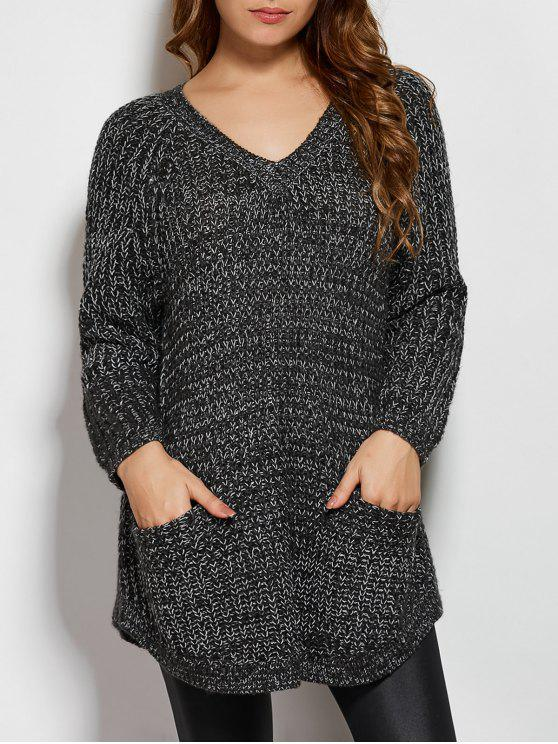 outfits Pockets V Neck Sweater - DEEP GRAY ONE SIZE