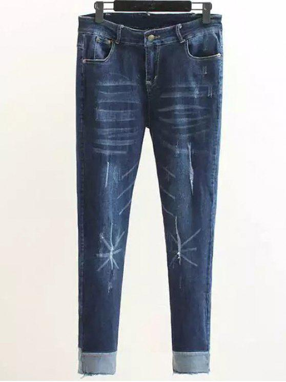 Scratch Zip Fly-Denim-Hosen - Denim Blau XL