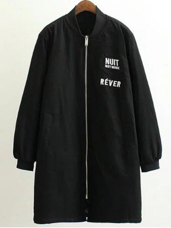 women Stand Neck Letter Embroidered Cotton Linen Coat - BLACK 3XL