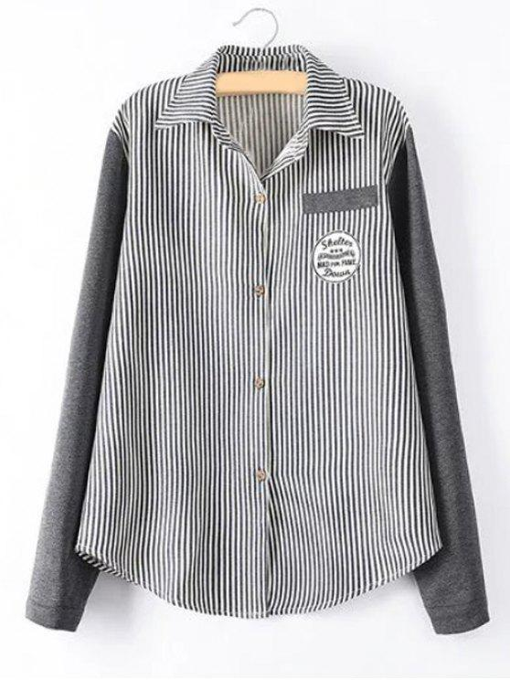 fashion Striped Knit Spliced Shirt - BLACK 2XL