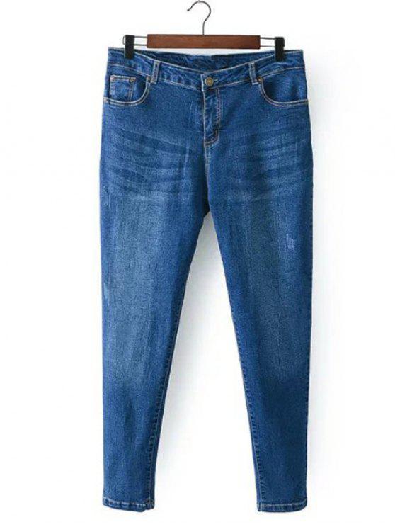 best Bleach Wash Zip Fly Denim Pants - DENIM BLUE 3XL
