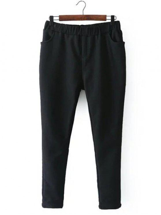 shop Casual Fleece Narrow Feet Pants - BLACK 4XL
