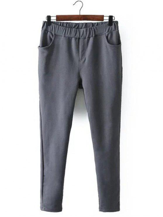 Pantalones Pies Estrechos Polar - Gris 4XL