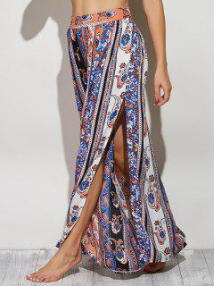 Paisley Pattern High Slit Maxi Skirt - L