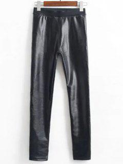 Fleece Faux Leather Leggings - Black L