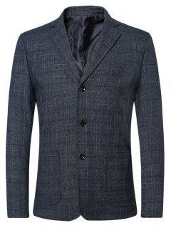 Single Breasted Lapel Plaid Long Sleeve Jacket Blazer - Blue M