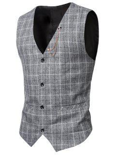 V-Neck Single-Breasted Checked Waistcoat - Light Gray 3xl