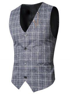 V-Neck Single-Breasted Checked Waistcoat - Deep Gray 2xl