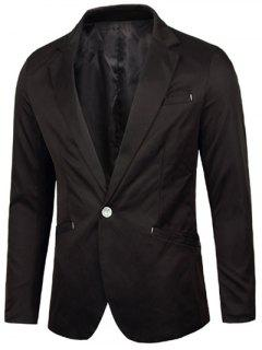 Notch Lapel Breasted Pocket One-Button Blazer - Black L