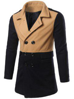 Color Matching Epaulet Design Double Breasted Coat - Khaki M