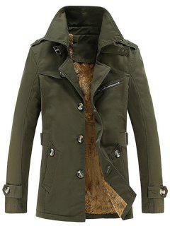 Turn-Down Collar Single-Breasted Zip Embellished Fleece Coat - Army Green 4xl