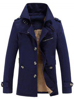 Turn-Down Collar Single-Breasted Zip Embellished Fleece Coat - Deep Blue 3xl