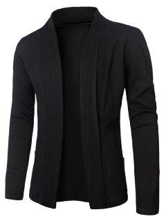 Turn-Down Collar Vertical Stripe Knitting Cardigan - Black M