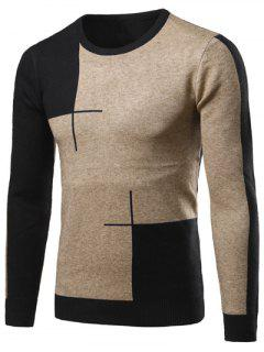 Color Matching Long Sleeve Crew Neck Sweater - Black L