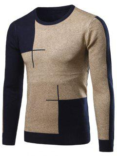 Color Matching Long Sleeve Crew Neck Sweater - Cadetblue 2xl