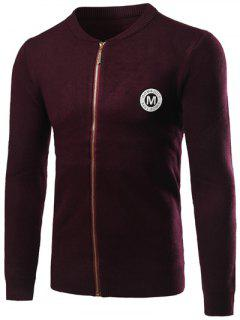 Knitted Rib Cuff Zip Up Graphic Cardigan - Wine Red L