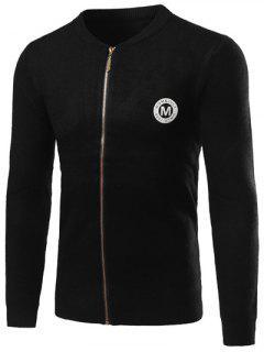 Knitted Rib Cuff Zip Up Graphic Cardigan - Black L