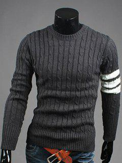 Crew Neck Long Sleeve Twist Striped Sweater - Deep Gray M