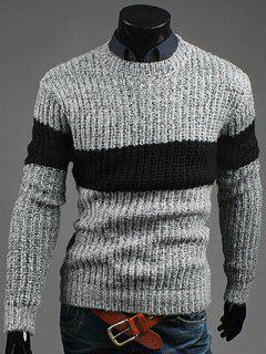 Crew Neck Color Matching Ribbed Sweater - Light Gray M