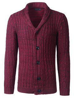 Shawl Collar Button Up Twist Striped Texture Cardigan - Wine Red M
