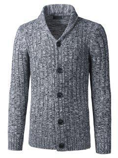 Shawl Collar Button Up Twist Rayé Texture Cardigan - Gris M