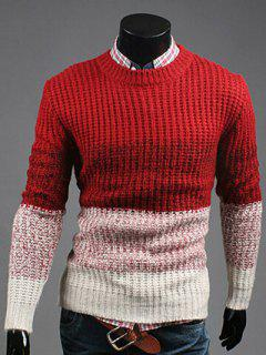 Contrast Color Striped Crew Neck Texture Sweater - Red L