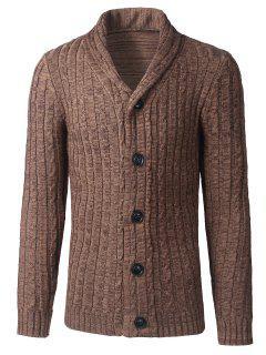Shawl Collar Button Up Twist Striped Texture Cardigan - Khaki M