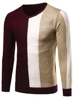 V-Neck Rib Cuff Color Matching Pullover Sweater - Wine Red L