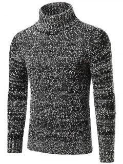 Heathered Turtleneck Texture Pullover Sweater - Black Xl