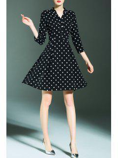 V Neck Polka Dot Print A Line Dress - Black S