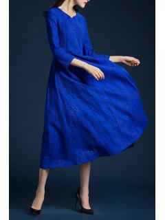 V Neck Tea Length Dress - Bright Blue 2xl
