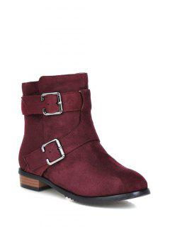 Flat Heel Round Toe Buckles Short Boots - Red Violet 38