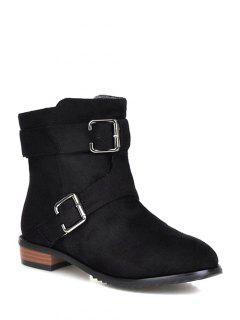 Flat Heel Round Toe Buckles Short Boots - Black 37