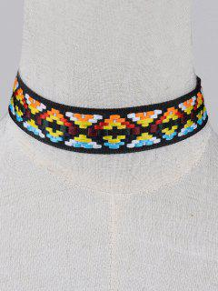 Geometric Embroidered Choker - Black