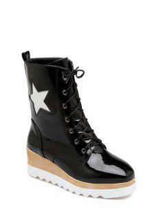 Star Pattern Platform Square Toe Short Boots - Black 39