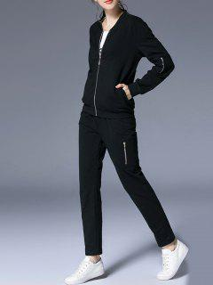 Zip Up Jacket With Pocket And Pants - Black 2xl