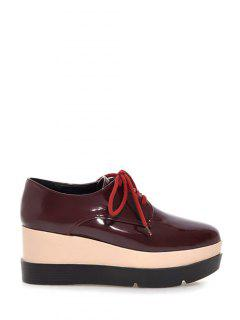 Pointed Toe Platform Tie Up Wedege Shoes - Wine Red 38