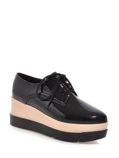 Pointed Toe Platform Tie Up Wedege Shoes - Black 38