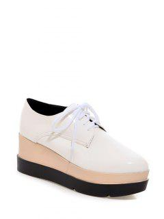Pointu Platform Tie Up Wedege Chaussures - Blanc 38