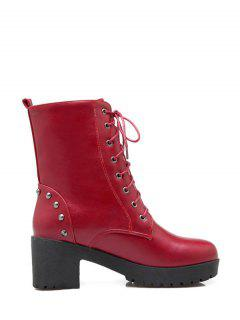 Rivets Platform Tie Up Short Boots - Red 38