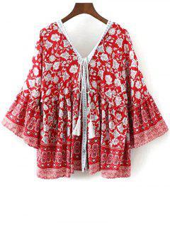 Moño Bell Boho De Impresión Floral - Rojo S