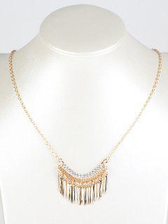 Collar Flecos Hojas Y Brillantes - Dorado