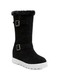 Double Buckles Platform Snow Boots - Black 38